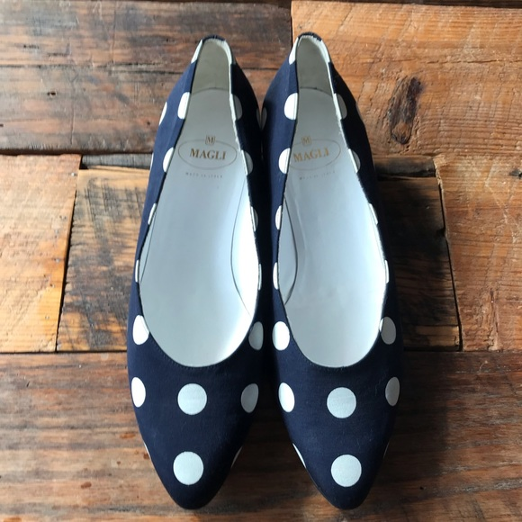 Vintage 1990s White ans Polka Dot Slip On Flats Pointed Toe Flats